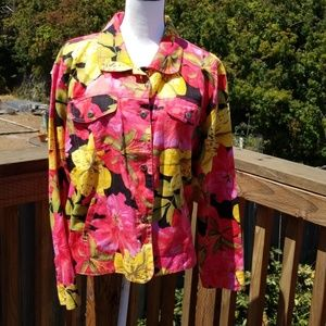 Chico's Floral Jacket,  Size: 16